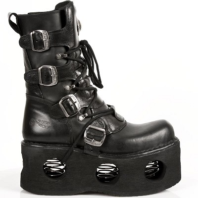 "Quality Black Leather Boots w springs in the sole. The Sole is 3"" high and the boots have a zipper on the inner leg and 4 buckles to adjust for comfort and fit."