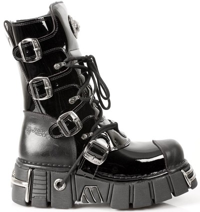 Black Patent Leather New Rock Boots. Zip on inner leg, 4 buckles to adjust for comfort and fit.