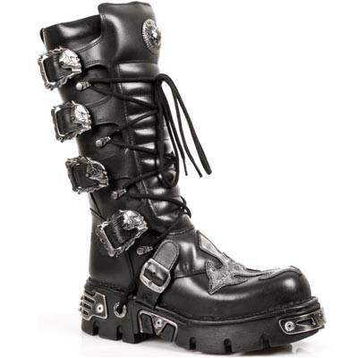 Quality Black Leather Reactor Boots. 4 Buckles to adjust for comfort and fit. Zip on the inner leg. Silver Leather Cross on Front.