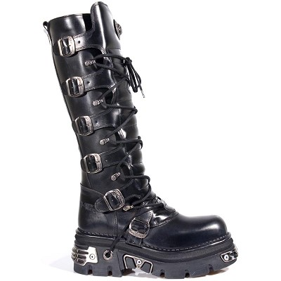 High Quality Black Leather Knee High Punk Boots, 6 Buckles to adjust for comfort and fit around the calf. Zip on inner leg.