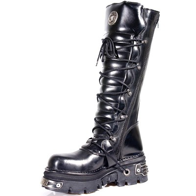 "High Quality Black Leather Knee High Punk Boots w silver reactor heel & 6 Buckles to adjust for comfort and fit around the calf. Zip on inner leg, making it a snap to maneuver. 2.5"" Thick Rubber Sole w Metal."