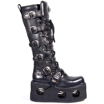 "High Quality Black Leather Knee High Punk Boots w Neptune Spring Sole, 6 Buckles to adjust for comfort and fit around the calf. Zip on inner leg, making it a snap to maneuver. 3"" Platform Rubber Heel"