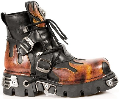 Black Leather New Rock Boots w Red Flames. Laces and Buckles to adjust for comfort and fit.