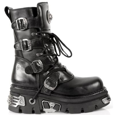 "Quality Black Leather Boots w Reactor sole. The boots have a zipper on the inner leg and 4 buckles to adjust for comfort and fit. 2.5"" Thick Rubber Sole w Metal."
