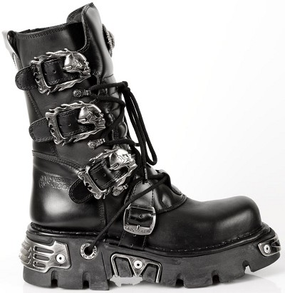 "Quality Black Leather New Rock Reactor Boots w 4 Buckles to adjust for comfort and fit. Zip on the inner leg. 2.5"" Thick Rubber Sole w Metal."