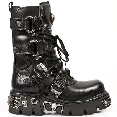"Quality Black Leather Reactor Boots. These are also good if you have a wider calf. 2 Velcro fasteners on each side of the boot to get a more adjustable fit! 2 Buckles to adjust for comfort and fit. 2.5"" Thick Rubber Sole w Metal."