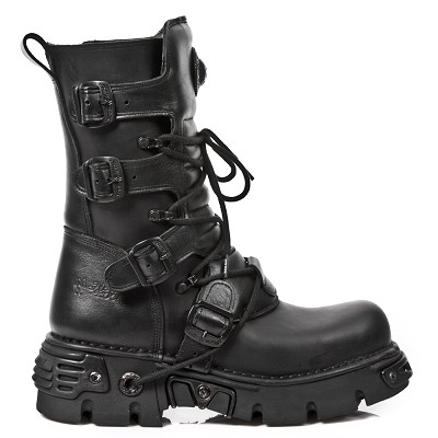 ALL Black Leather New Rock Boots w Zip on inner leg, 4 Black Buckles to adjust for Comfort and Fit.