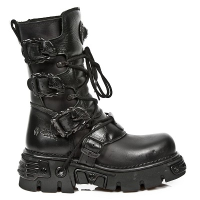 "All Black Leather New Rock Reactor Boots w 4 Buckles to adjust for comfort and fit. Zip on the inner leg. 2.5"" Thick Rubber Sole w Metal."