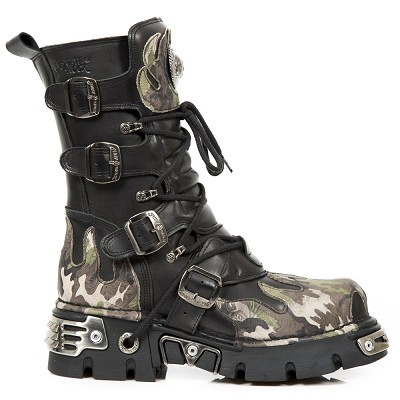 Quality Black Leather New Rock Boots w Camouflage Flames on the Front, Back and top.  4 Buckles to adjust for comfort and fit. Zip on inner leg.