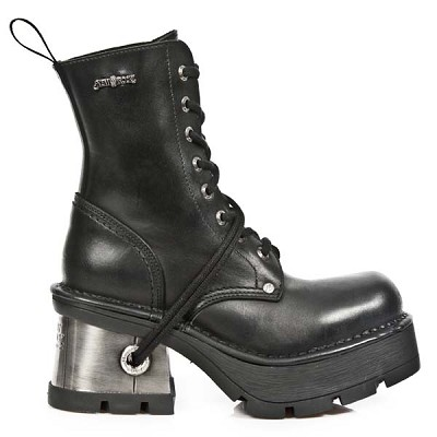"Ladies Black Leather Combat Style Boots w ladies metal heel. The Sole is 3"" high, Lacing up the front."
