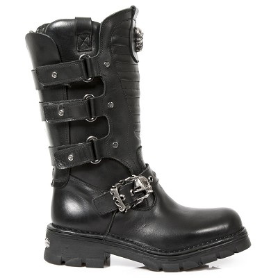 Quality Black Leather New Rock Motorcycle Boots.  Great for riding in style!  3 Velcro fasteners on each side, Skull Buckle to adjust for comfort and fit.