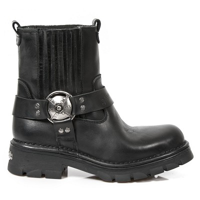 High Quality Black Leather Motorcycle Ankle Boots.  Upper part is stretchy so they are easy to put right on.
