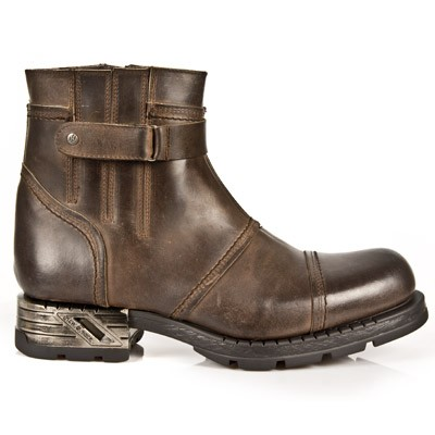 High Quality Brown Leather Motorcycle Ankle Boots w Harness.  Upper part is stretchy so they are easy to put right on. 1 Velcro Strap to adjust for comfort and fit.