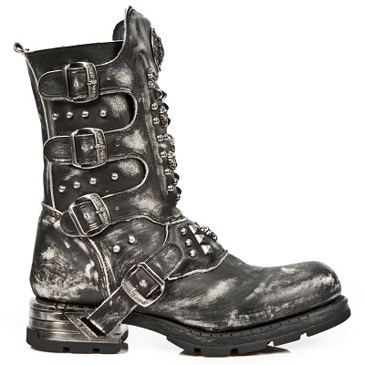 New Amazing New Rock Motorcycle Boots w Skulls & Studs. 4 Adjustable Buckles on outer leg, Inner Leg Zipper.