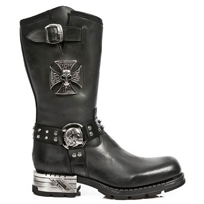 New Rock Motorcycle Boots w Iron Cross w burning skull. Silver flaming skull harness!  1 Buckle at the top, Inner Leg Zipper.