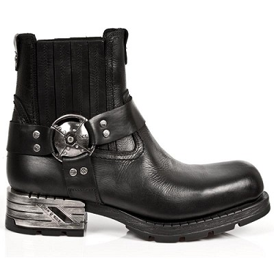 High Quality Leather Motorcycle Ankle Boots w Harness.  Upper part is stretchy so they are easy to put right on.