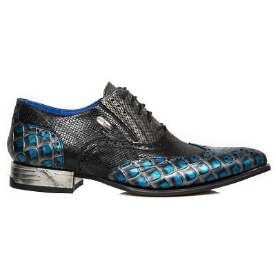 Black Leather w Blue Dragonscale Pattern VIP Dress Shoes w Laces, Perfect for any Prom or Wedding!