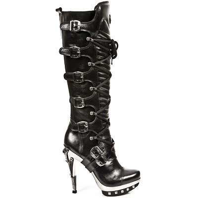 Knee High Quality Black Leather Punk Boots