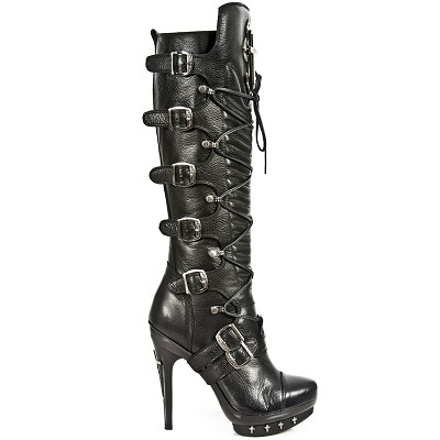 Tall Black Leather Punk Boots, Goth Silver Crosses