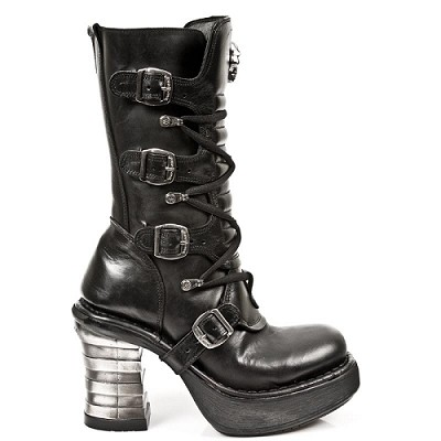 "Black leather sexy boots w 4"" platform heel. 4 Buckles to adjust for comfort and fit, Zip on inner leg."