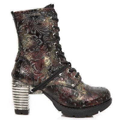 "Black, Gold & Red Paisley Leather Boots w 3"" Metal Heel, Lacing up the front, Zip on inner leg."