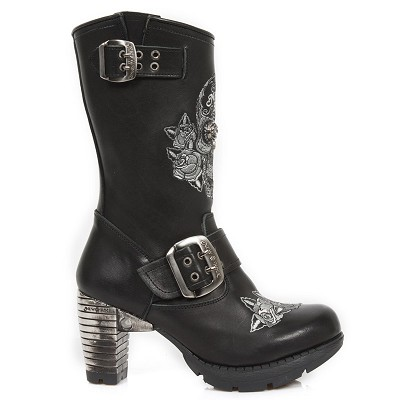 "Black Leather Ladies Ankle Boots w 3"" Metal Heel, Lacing up the front, Zip on inner leg.  Embroidered Flowers & Skull."