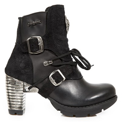 "Black Leather & Suede Ladies Ankle Boots w 3"" Metal Trail Heel, Lacing up the front, 2 Buckles, Zip on inner leg."