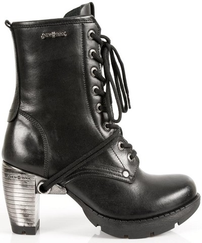 "Knee High Leather Boots w 3"" Metal Heel, Lacing up the front, Zip on inner leg."