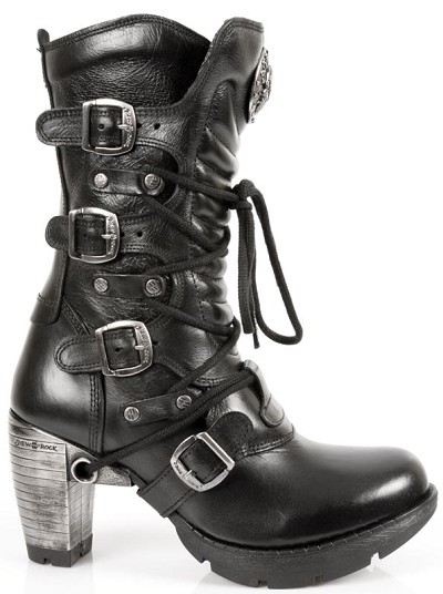 "Black Leather Ladies Boots w 3"" Metal Heel, Lacing up the front, Zip on inner leg."
