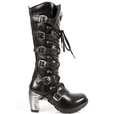 "Knee high black leather goth boots w 3"" trail heel"