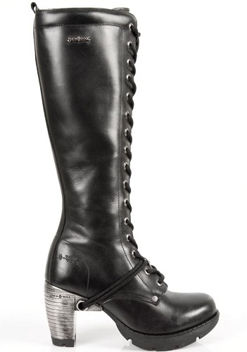"Knee High Goth Leather Boots w 3"" Metal Heel, Lacing up the front, Zip on inner leg."