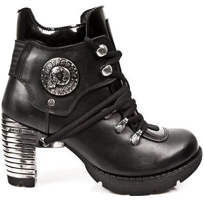 "Black Leather Boots w Shiny Black Patent Leather w 3"" Metal Heel, Lacing up the front."