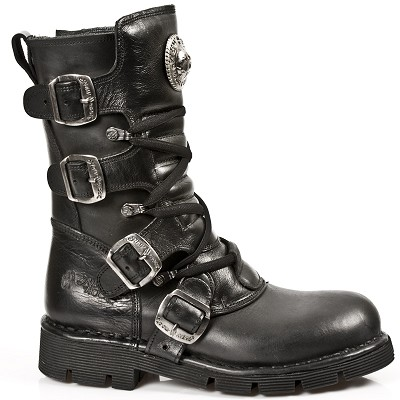 High Quality Black Vegan New Rock Boots. Zip on the inner leg. 4 Buckles to adjust for comfort and fit.