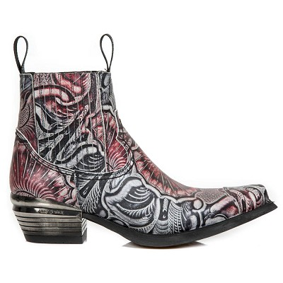 Mexican Black, Grey & Red Leather Floral Western Boots, Top part is stretchy, making them easy to pull right on.