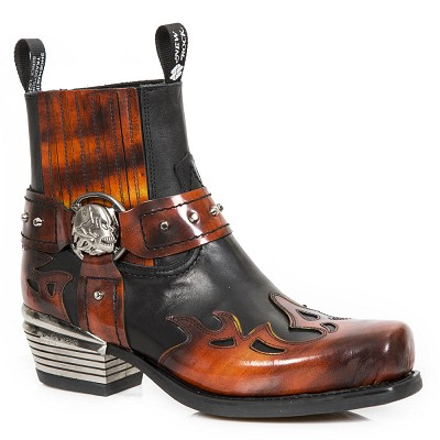Black & Red Leather Ankle Westerns w Red Flames