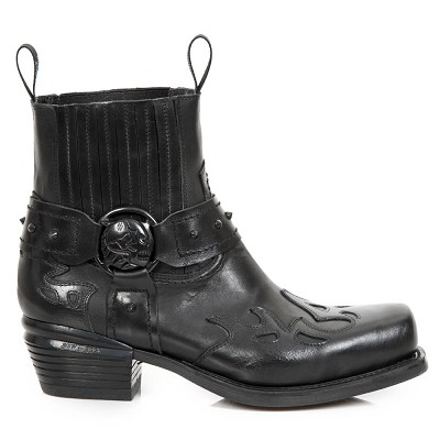 All Black Leather Italian Western Boots w Black Flames. Top part is stretchy, making them easy to pull right on.
