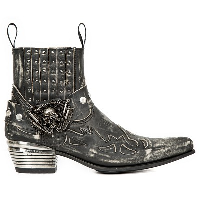 Black Leather Italian Western Boots w Black Flames & Studs, Top part is stretchy, making them easy to pull right on.
