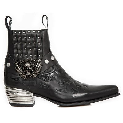 Black Python Leather Western Boots w Black Flames & Studs, Top part is stretchy, making them easy to pull right on.
