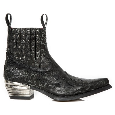 Black Python Leather Western Boots w Black Floral Flames & Studs, Top part is stretchy, making them easy to pull right on.