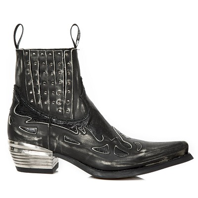 Vintage Black Python Leather Western Boots w Black Flames & Studs, Top part is stretchy, making them easy to pull right on.
