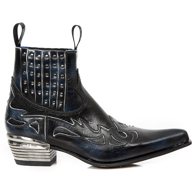 Black Python Leather Western Boots w Black Midnight Blue Flames & Studs, Top part is stretchy, making them easy to pull right on.