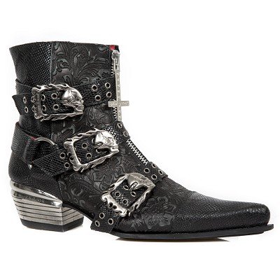 Black Python Leather Floral Western Boots, Zip & Cross up the front, 3 skull buckles fasteners for comfort and fit, zip on inner ankle.