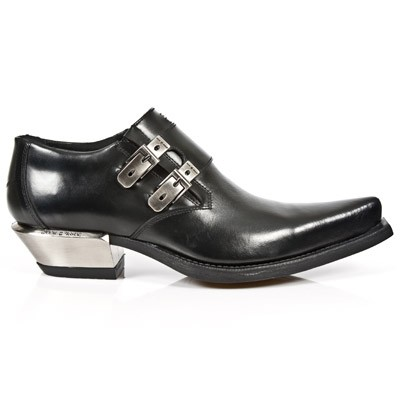 Black Leather Western Shoes, Metal Heel, 2 Buckles to adjust for comfort and fit.