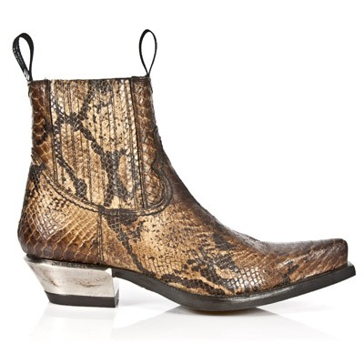 Golden Python Pattern Western Boots, Top part is stretchy, making them easy to pull right on.