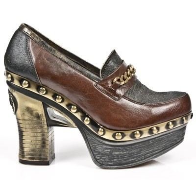 "New rock platform clog made from high quality brown buffalo hide w golden chain across the top. 1.5""platform w 4"" heel. This item could take up to 60 Days to receive from date of purchase. Will most likely ship sooner upon completion in 30 Days.  UPS or Fed Ex tracking # is provided upon shipping!  Order more pairs of any  New Rock footwear to get $20 off each pair for 2 pairs... a $40 Savings or 3 Pairs for a $60 Savings and so on!!! Order w friends and everyone saves!"