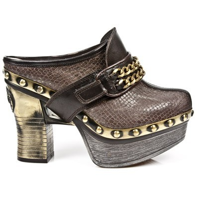 "New rock platform clog made from high quality Brown Python Pleated leather w black chain velcro fastener across the top. 1.5""platform w 4"" heel. This item could take up to 60 Days to receive from date of purchase. Will most likely ship sooner upon completion in 30 Days.  UPS or Fed Ex tracking # is provided upon shipping!  Order more pairs of any  New Rock footwear to get $20 off each pair for 2 pairs... a $40 Savings or 3 Pairs for a $60 Savings and so on!!! Order w friends and everyone saves!"