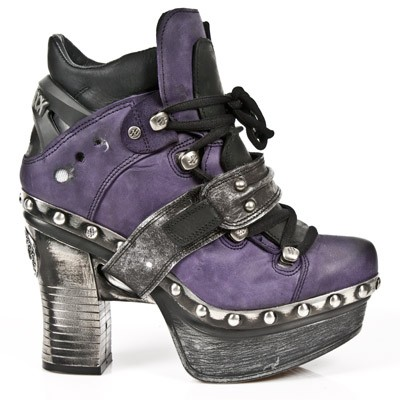 Dark Purple Leather Platform Clog w Silver Leather